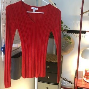 Topshop Fitted V Long Sleeve Red Sweater NWOT